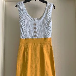 Alythea White/Mustard Fitted Dress- Small